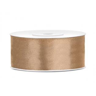 Saténová stuha, světle zlatá, 25mm/25m (1 kus / 25 bm )