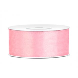Saténová stuha, světle růžová, 25mm/25m (1 kus / 25 bm)