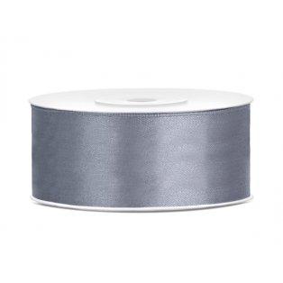 Saténová stuha, šedá, 25mm/25m (1 kus / 25 bm)