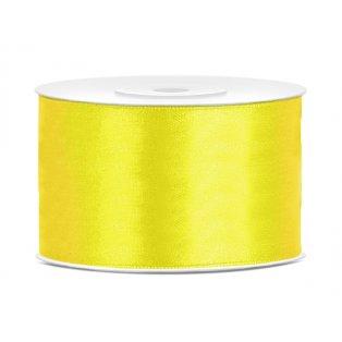 Saténová stuha, žlutá, 38mm/25m
