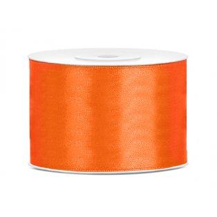 Saténová stuha, oranžová, 50mm/25m