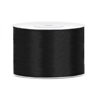 Saténová stuha, černá, 50mm/25m