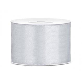 Saténová stuha, stříbrná, 50mm/25m
