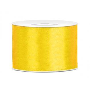 Saténová stuha, žlutá, 50mm/25m