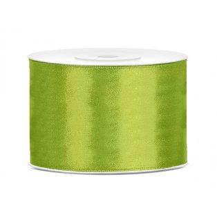 Saténová stuha, jablíčkově zelená, 50mm/25m