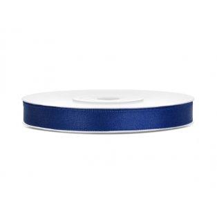 Saténová stuha, námořnická modrá, 6mm/25m (1 kus / 25 bm)