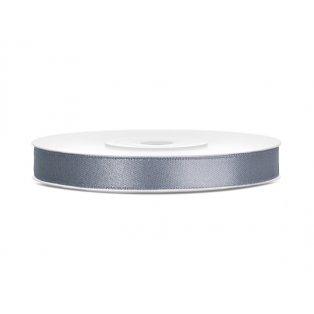 Saténová stuha, šedá, 6mm/25m