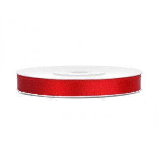 Saténová stuha, červená, 6mm/25m