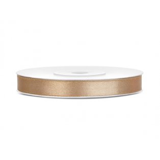 Saténová stuha, světle zlatá, 6mm/25m (1 kus / 25 bm)