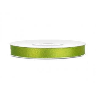 Saténová stuha, jablíčkově zelená, 6mm/25m (1 kus / 25 bm)