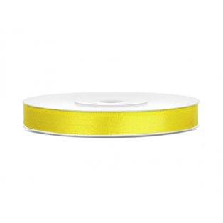 Saténová stuha, žlutá, 6mm/25m