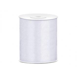 Saténová stuha, bílá, 100mm/25m (1 kus / 25 bm)