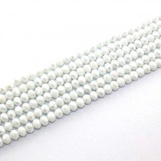 Broušené korálky - bílé - 8 x 6 mm - 10 ks