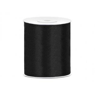 Saténová stuha, černá, 100mm/25m (1 kus / 25 bm)