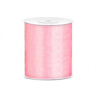 Saténová stuha, světle růžová, 100mm/25m (1 kus / 25 bm)