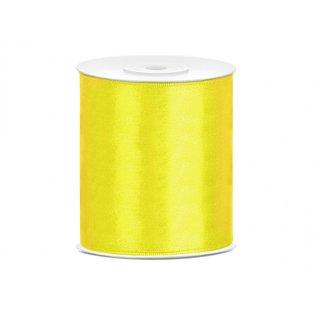Saténová stuha, žlutá, 100mm/25m