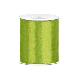 Saténová stuha, jablíčkově zelená, 100mm/25m