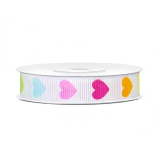 Rypsová stuha Colourful Hearts, 12mm/10m (1 ks / 10 bm)