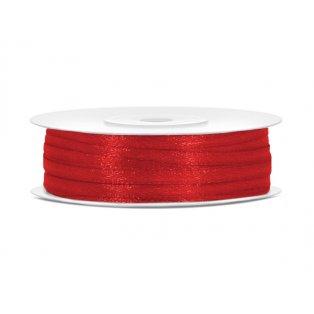 Saténová stuha, červená, 3mm/50m