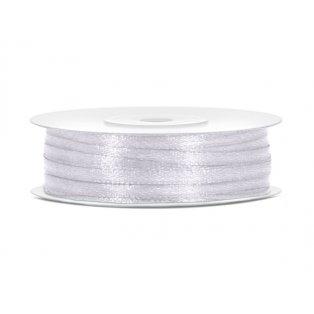 Saténová stuha, bílá, 3mm/50m (1 ks / 50 bm)