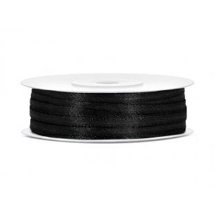 Saténová stuha, černá, 3mm/50m