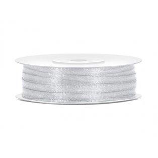 Saténová stuha, stříbrná, 3mm/50m