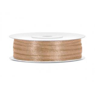Saténová stuha, světle zlatá, 3mm/50m