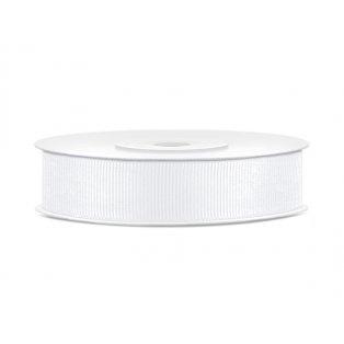 Rypsová stuha, bílá, 15mm/25m (1 kus / 25 bm)