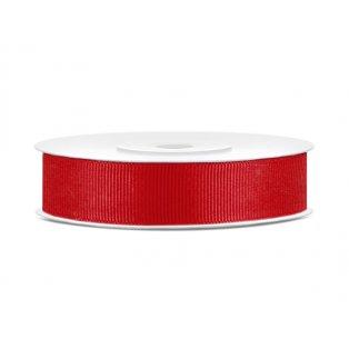 Rypsová stuha, červená, 15mm/25m (1 kus / 25 bm)
