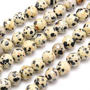Přírodní dalmatin jaspis - fazeta - ∅ 8 mm - 1 ks