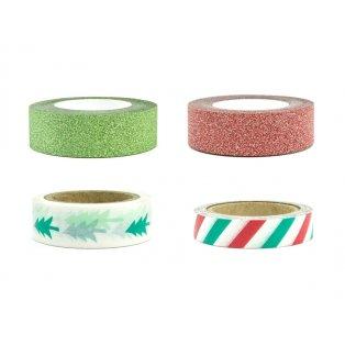 Washi pásky Merry Xmas, mix (1 balení / 4 ks)