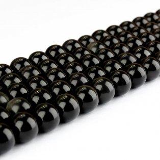 Přírodní černý obsidián  - ∅ 10 mm - 1 ks
