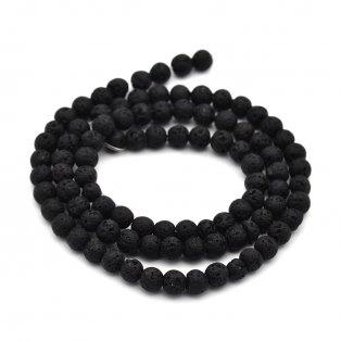 Přírodní lávové korálky - černé - ∅ 6 mm - 10 ks