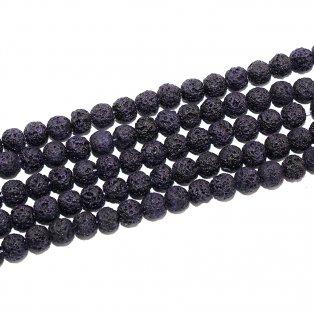 Přírodní lávové korálky - tmavě fialové - ∅ 8 mm - 10 ks