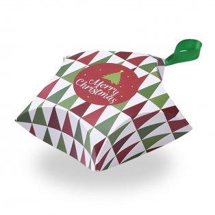 """Skládací dárková krabička se saténovou mašlí - zelená """"Merry Christmas""""- hvězda - 12 x 12 x 4,05 cm - 1 ks"""