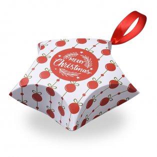 """Skládací dárková krabička se saténovou mašlí - bílá - """"Merry Christmas"""" - hvězda - 12 x 12 x 4,05 cm - 1 ks"""