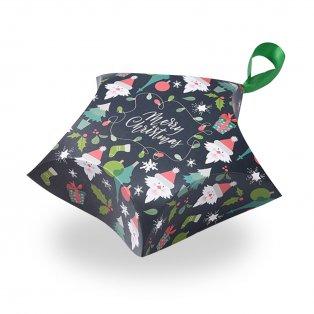 """Skládací dárková krabička se saténovou mašlí - tmavě zelená - """"Merry Christmas"""" - hvězda - 12 x 12 x 4,05 cm - 1 ks"""