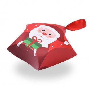 Skládací dárková krabička se saténovou mašlí - červená - Santa Claus - hvězda - 12 x 12 x 4,05 cm - 1 ks