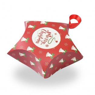 """Skládací dárková krabička se saténovou mašlí - červená - """"Merry Christmas"""" - hvězda - 12 x 12 x 4,05 cm - 1 ks"""