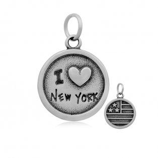 """Přívěsek z nerezové oceli -  """"I ♥ NEW YORK"""" - 27 x 18 mm - 1 ks"""