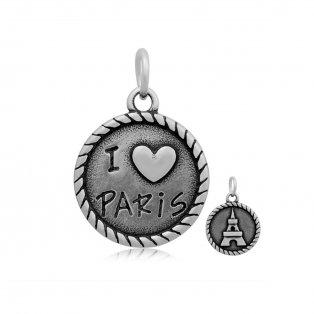 """Přívěsek z nerezové oceli -  """"I ♥ PARIS"""" - 21,5 x 18 x 2 mm - 1 ks"""