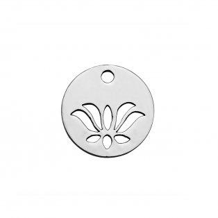 Přívěsek z nerezové oceli - lotosový květ - 12 x 12 x 1,2 mm - 1 ks