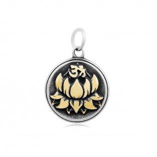 Přívěsek z nerezové oceli - lotosový květ - zlatý - 23 x 19,5 x 4,5 mm - 1 ks