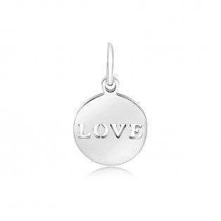"""Přívěsek z nerezové oceli - """"LOVE"""" - 15 x 12 x 1 mm - 1 ks"""