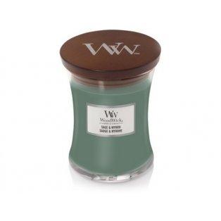 Woodwick svíčka - sklo střední/Sage & Myrrh