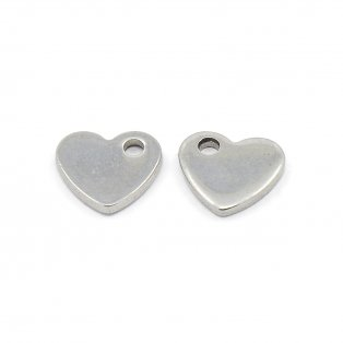 Přívěsek z nerezové oceli - srdce - 10 x 9 x 1,5 mm - 1 ks
