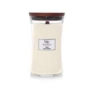 Woodwick svíčka - sklo velké/Linen 02/19;10/20