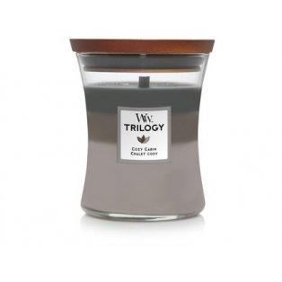 Woodwick svíčka - Trilogy sklo střední/Cozy Cabin