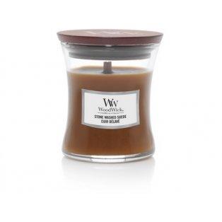 Woodwick Stone Washed Suede svíčka malá
