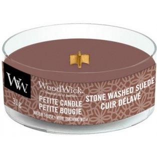 Woodwick Stone Washed Suede svíčka petite